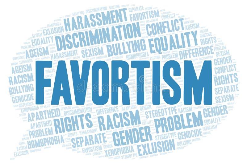 Favortism - tipo de discriminação - nuvem da palavra ilustração stock