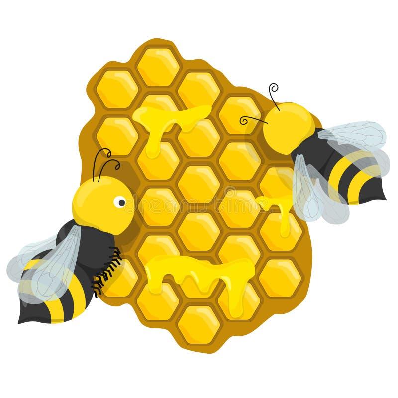 Favos de mel com abelhas do mel ilustração stock