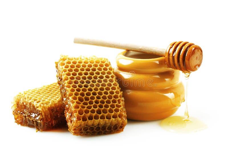 Favos de mel com mel foto de stock