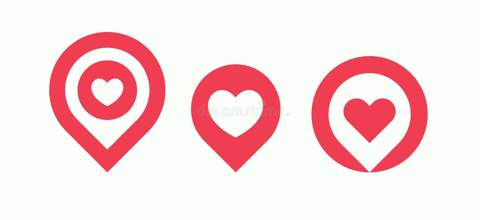 Favourite Places Icon Set, Liked Places Pin Collection, Love ...
