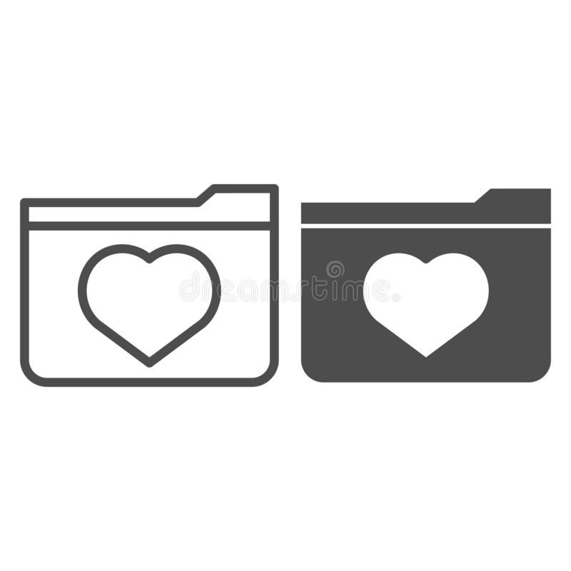 Favourites line and glyph icon. File folder with heart vector illustration isolated on white. Computer folder outline. Style design, designed for web and app stock illustration