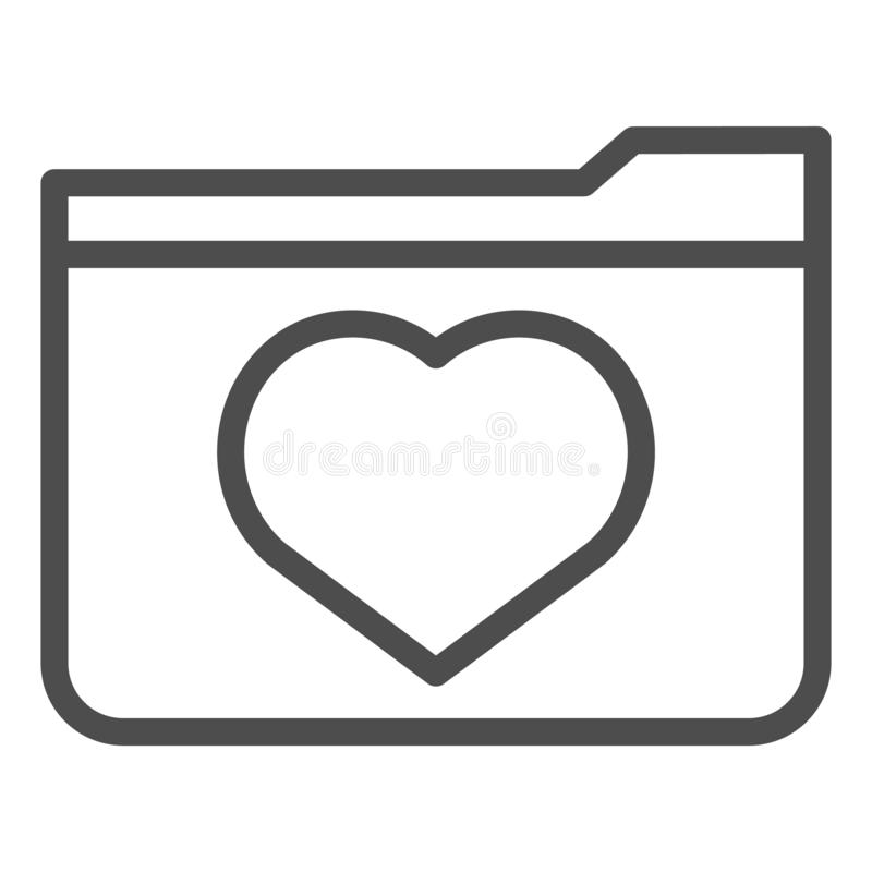 Favourites line icon. File folder with heart vector illustration isolated on white. Computer folder outline style design. Designed for web and app. Eps 10 royalty free illustration