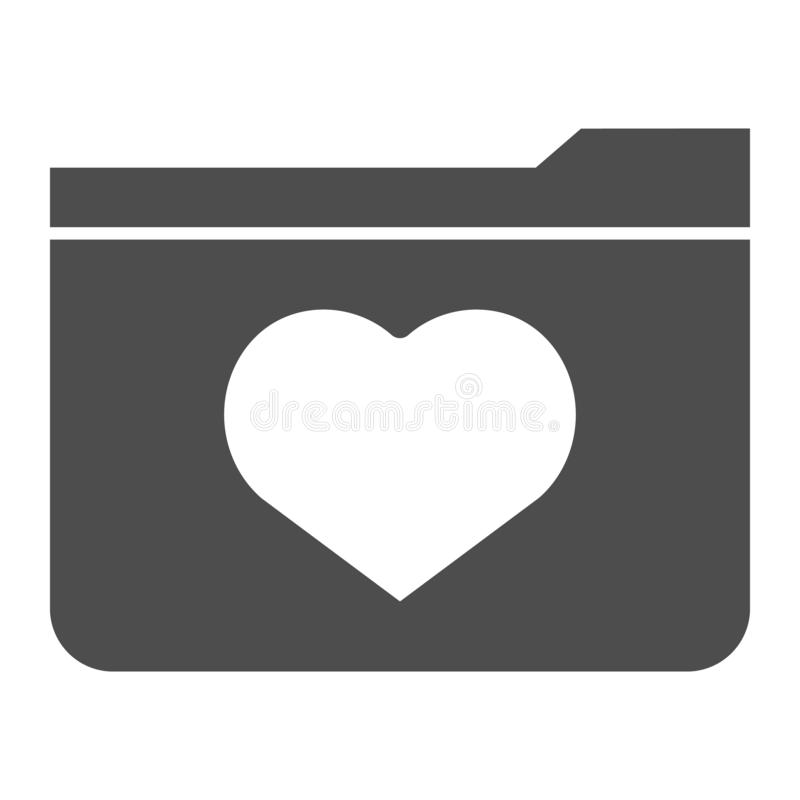 Favourites solid icon. File folder with heart vector illustration isolated on white. Computer folder glyph style design. Designed for web and app. Eps 10 royalty free illustration