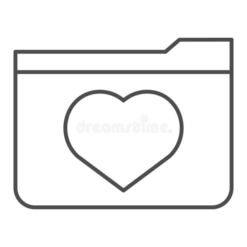 Favourites thin line icon. File folder with heart vector illustration isolated on white. Computer folder outline style. Design, designed for web and app. Eps 10 vector illustration