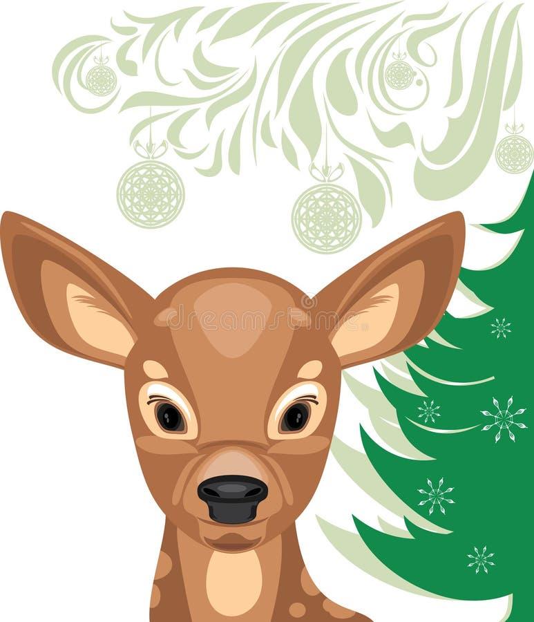 Fawn και χριστουγεννιάτικο δέντρο ελεύθερη απεικόνιση δικαιώματος