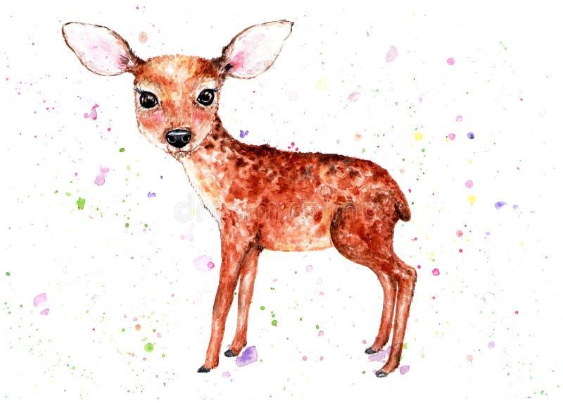 fawn Ilustração da aguarela ilustração royalty free