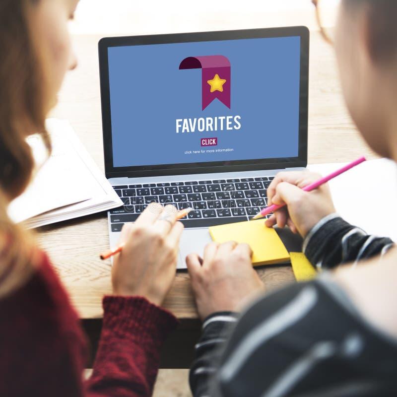 Faworyta Bookmark dane technologii Popularny pojęcie zdjęcia stock