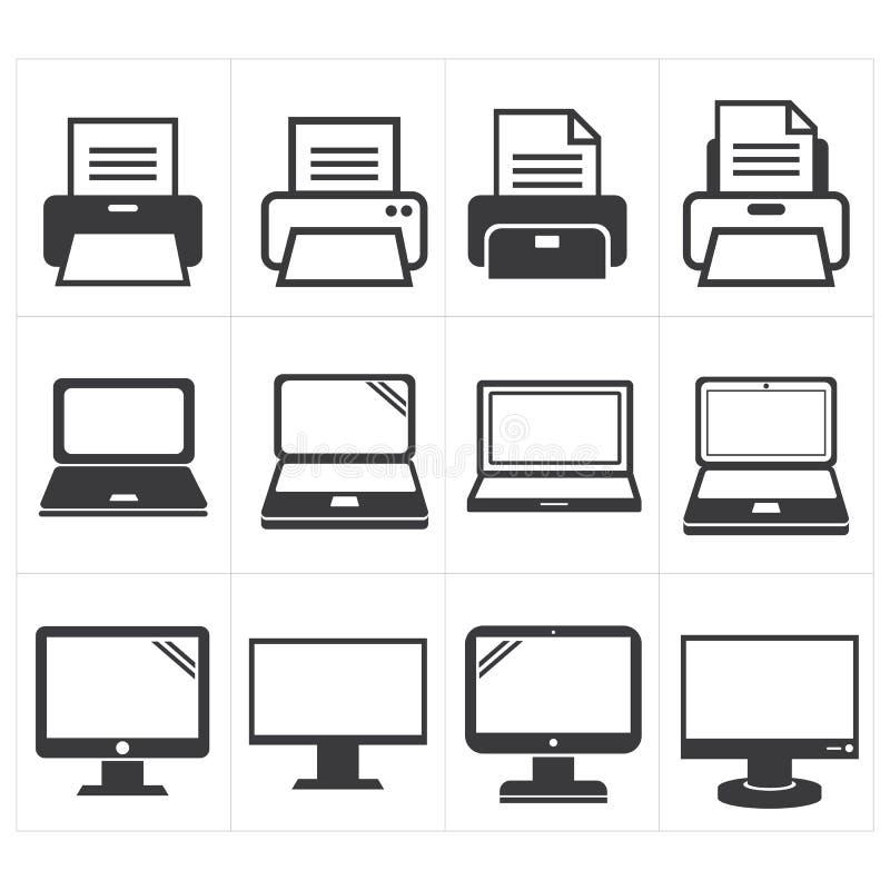 Fax εξοπλισμού γραφείων εικονιδίων, lap-top, εκτυπωτής ελεύθερη απεικόνιση δικαιώματος