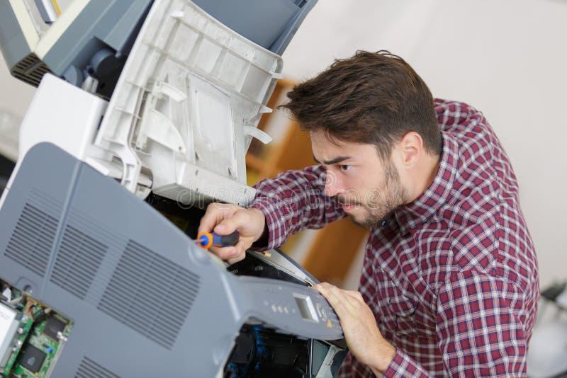 Fax da emenda do trabalho de manutenção foto de stock