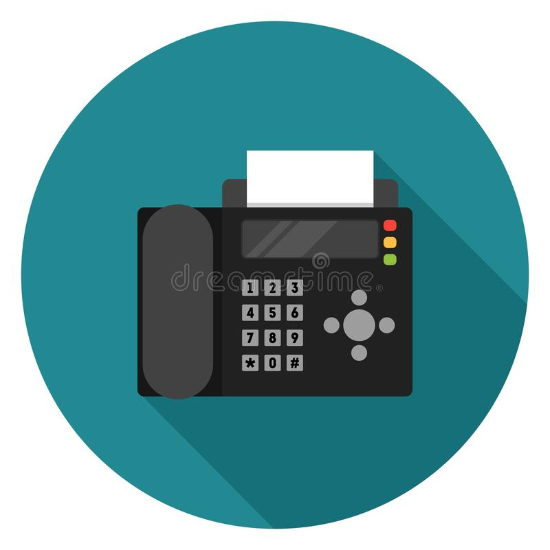 Fax icon in flat design. Fax icon. Illustration in flat style. Round icon with long shadow stock illustration