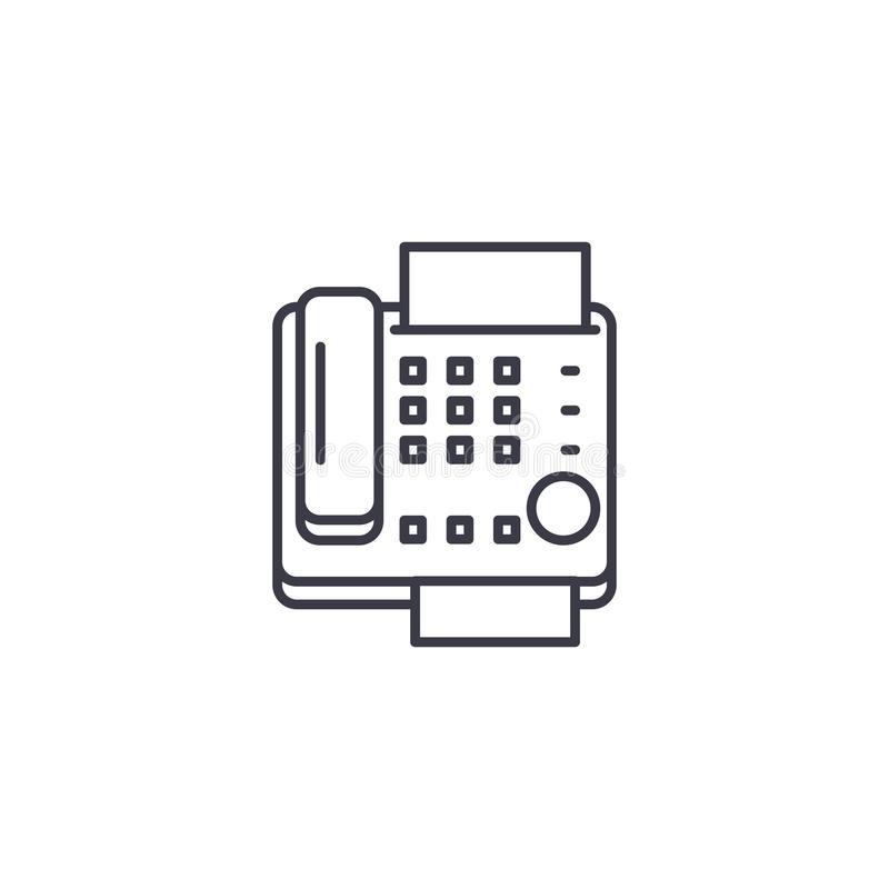 Fax machine linear icon concept. Fax machine line vector sign, symbol, illustration. royalty free illustration