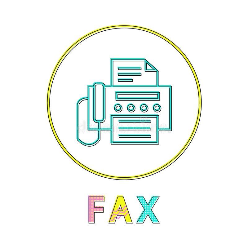 Fax Round Linear Icon mit Maschine und Dokument stock abbildung