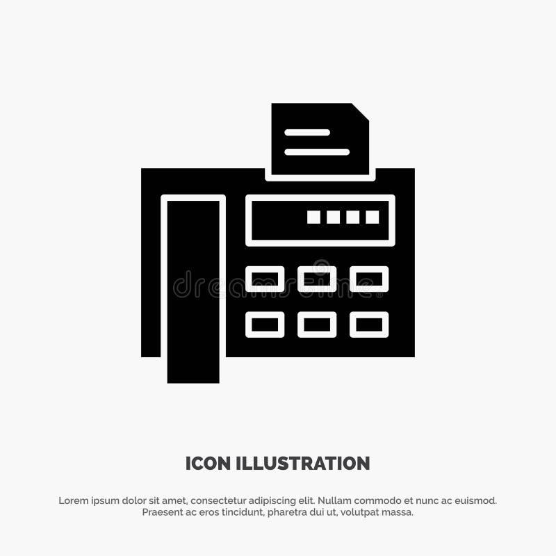 Fax, téléphone, machine à écrire, vecteur solide d'icône de Glyph de Fax Machine illustration de vecteur