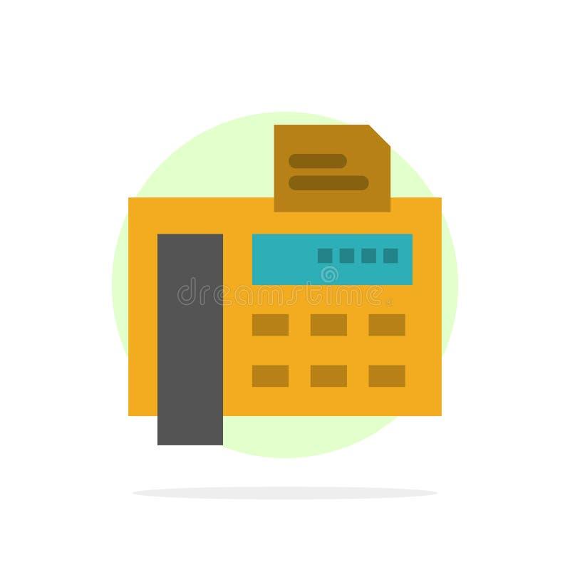 Fax, teléfono, máquina de escribir, icono plano del color de Fax Machine Abstract Circle Background ilustración del vector
