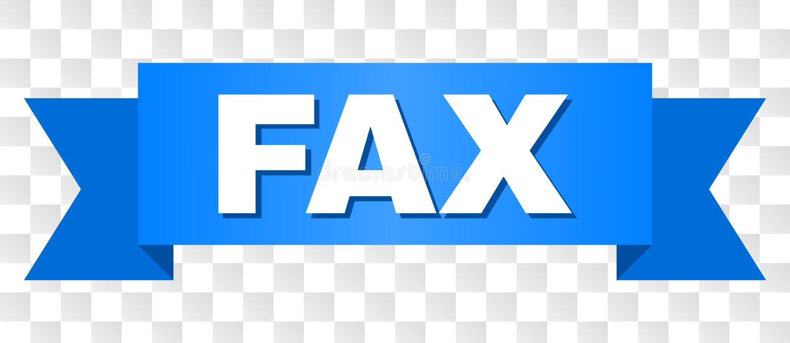 Blue Tape with FAX Text. FAX text on a ribbon. Designed with white caption and blue stripe. Vector banner with FAX tag on a transparent background stock illustration