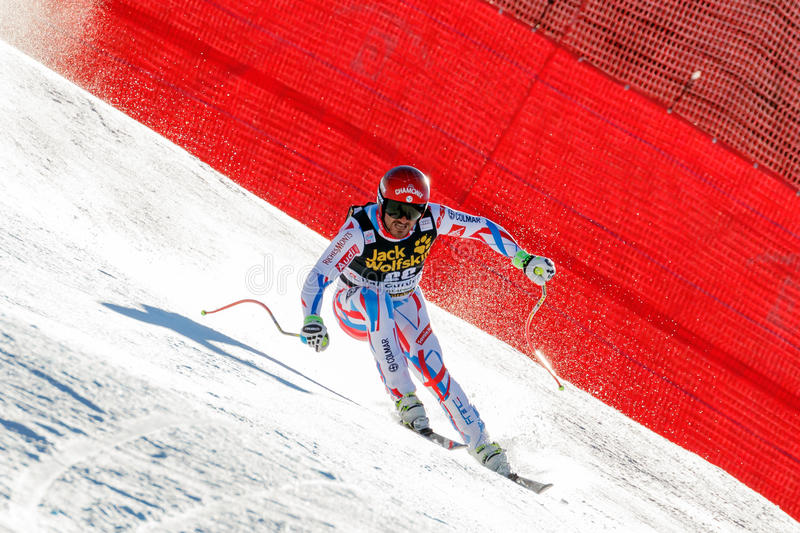 Fayed Guillermo in Audi FIS Alpine Ski World Cup - Men's Downhil. Val Gardena, Italy 19 December 2015. Fayed Guillermo (Fra) competing in the Audi Fis Alpine royalty free stock photography