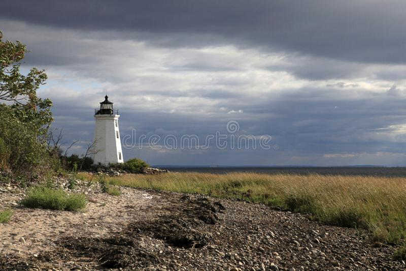 Fayerweather-Inselleuchtturm Bridgeport Connecticut lizenzfreie stockfotografie