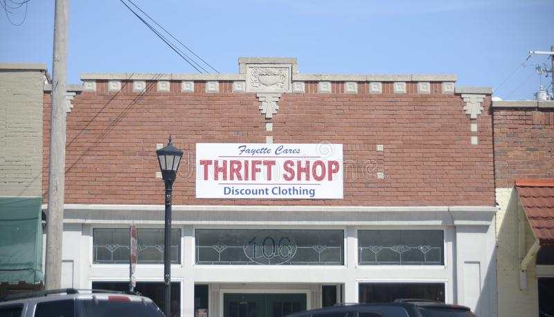 Fayette Cares Thrift Shop, Somerville, TN. Fayette Cares thrift shop and discount clothing sells donated items and second-hand clothes, shoes, household items stock images