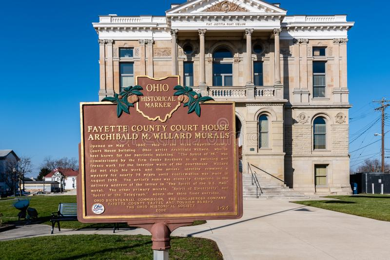 Fayette County Courthouse historical marker. Washington Court House, Ohio/USA-January 5, 2019: Historical marker highlighting the Fayette County Court House with royalty free stock photos