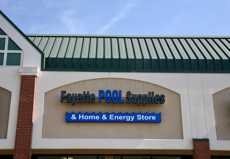 Fayette Pool Supplies. And Home Energy Store sells swimming pool supplies and related products. Fayette sells the full range of supplies for pool maintenance royalty free stock photo