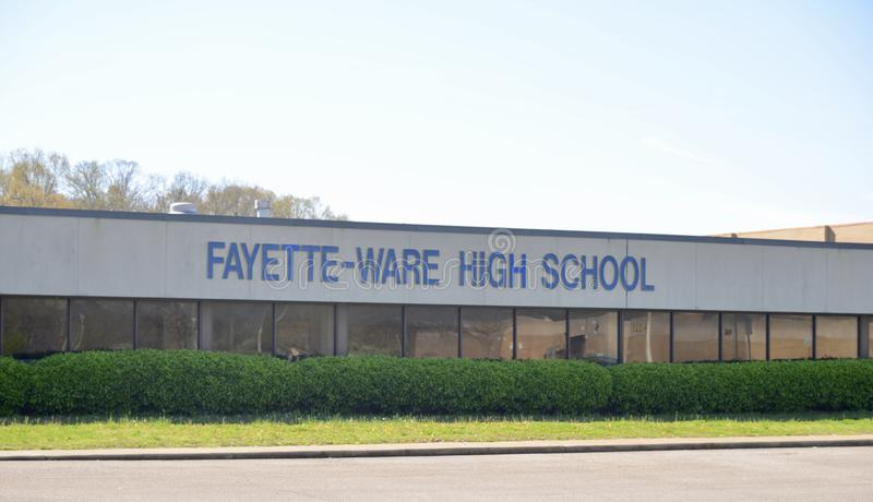 Fayette-Ware High School, Somerville, TN. Fayette Ware Comprehensive High School 13520 Highway 59, Somerville, TN Fayette County School District royalty free stock images
