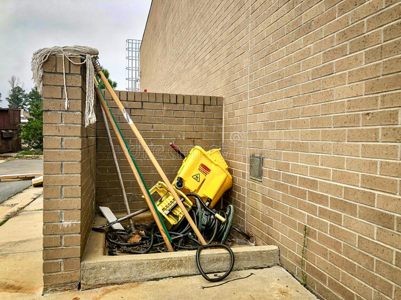 FAYETTEVILLE, NC - CIRCA April 2019 : Outdoor Janitorial station in disarray mess stock photos