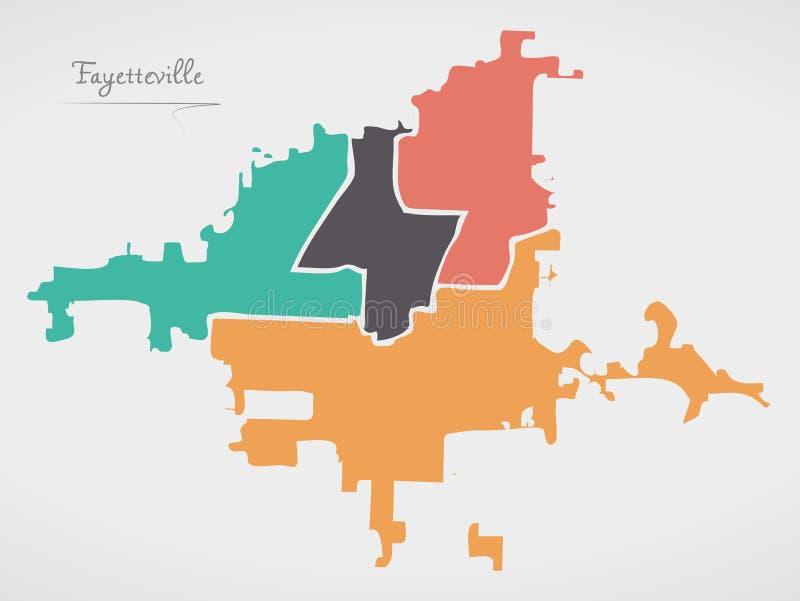 Fayetteville Pólnocna Karolina mapa z oddziałami i nowożytnymi round kształtami ilustracji
