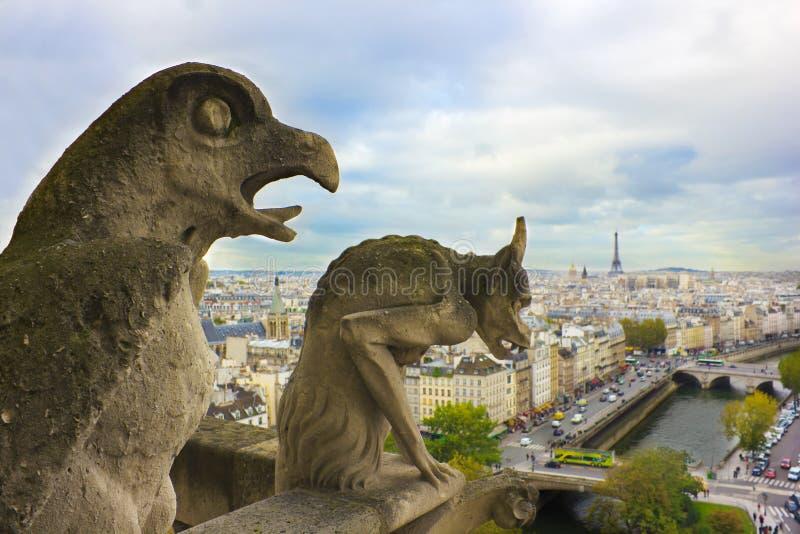 Faymous Gargoyles Of Notre Dame Over Paris Royalty Free Stock Photo