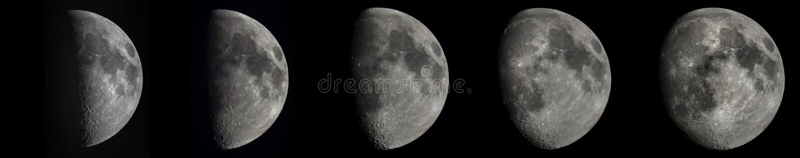5 faz półksiężyc księżyc zdjęcie stock