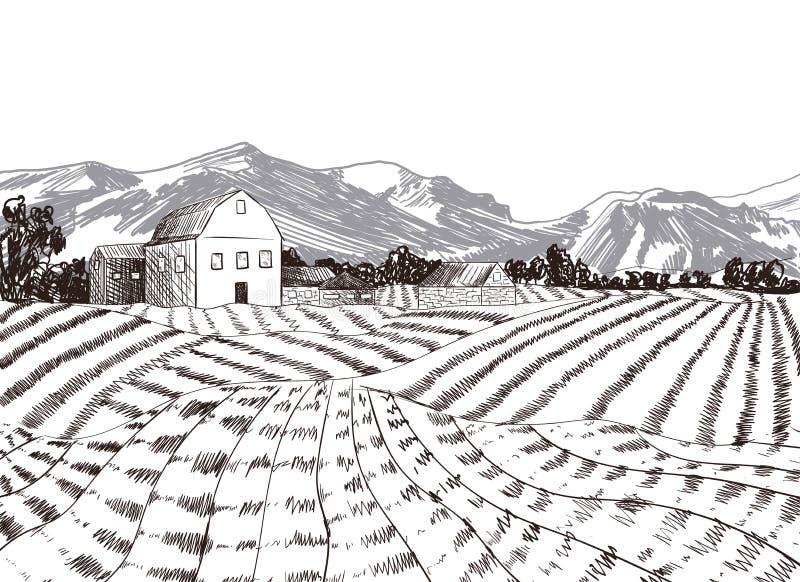 Fazenda desenhada Manualmente com Fundo de Montanhas, Ilustração de Desenho à Mão Livre, Conceito Agrícola ilustração stock