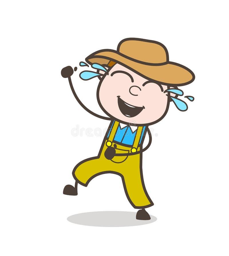 Fazendeiro alegre Man com os rasgos de Joy Vetora ilustração royalty free