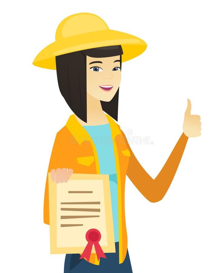Fazendeiro asiático novo que guarda um certificado ilustração royalty free