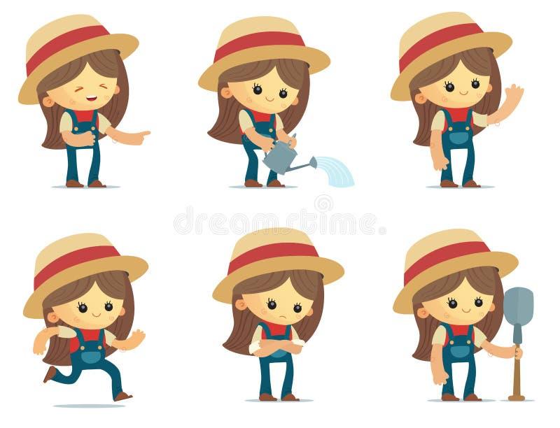 Fazendeiro bonito Girls ilustração stock