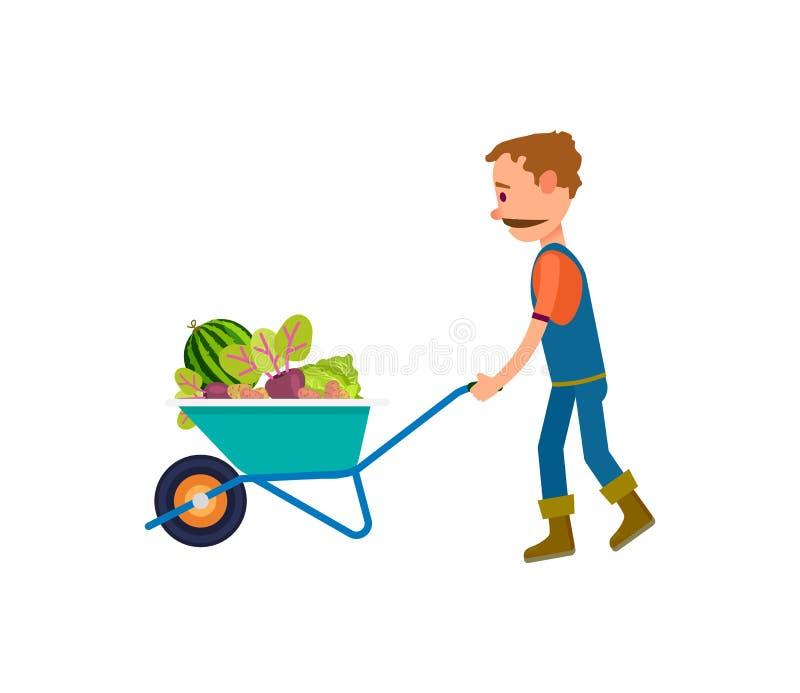 Fazendeiro com completamente do ícone do carrinho de mão dos vegetais ilustração stock