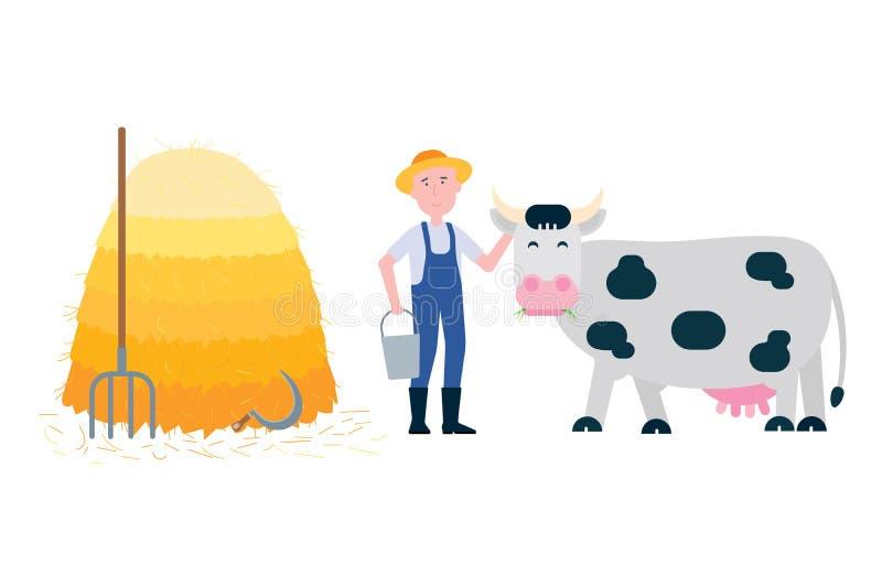 Fazendeiro com forcado e cubeta perto da pilha do feno e suporte manchado branco preto da vaca com grama em seu illust liso do ve ilustração stock