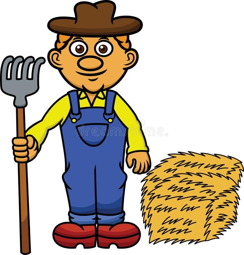 Fazendeiro com forcado e Hay Cartoon ilustração stock