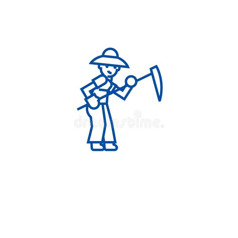 Fazendeiro com linha conceito da foice do ícone Fazendeiro com símbolo liso do vetor da foice, sinal, ilustração do esboço ilustração royalty free