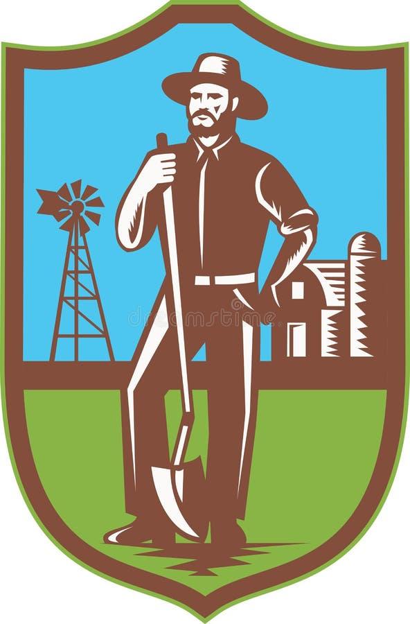 Fazendeiro com o celeiro da exploração agrícola do moinho de vento da pá retro ilustração royalty free