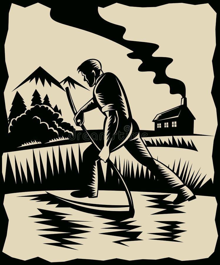 Fazendeiro com o scythe na exploração agrícola do trabalho