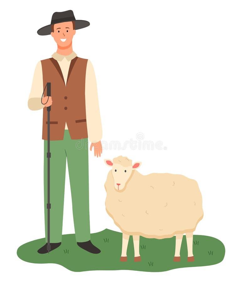 Fazendeiro com os carneiros no pasto, cultivando o funcionamento masculino ilustração royalty free