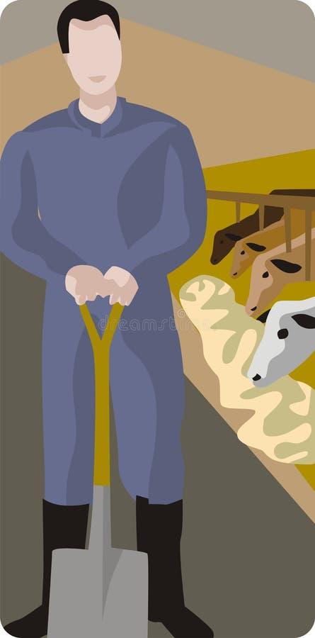 Fazendeiro com pá ilustração stock
