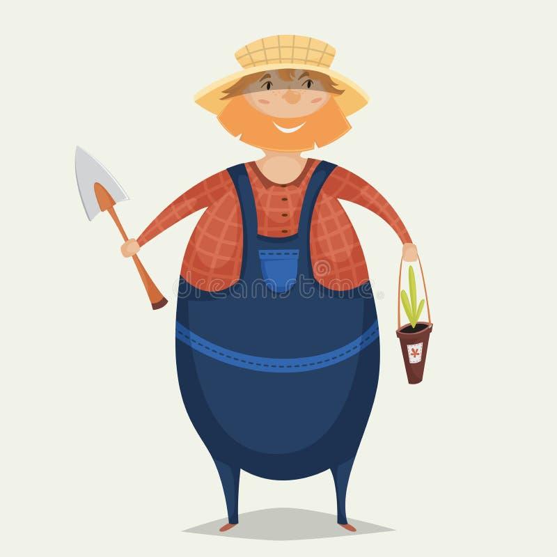 Fazendeiro com pá e planta Personagem de banda desenhada engraçado ilustração royalty free