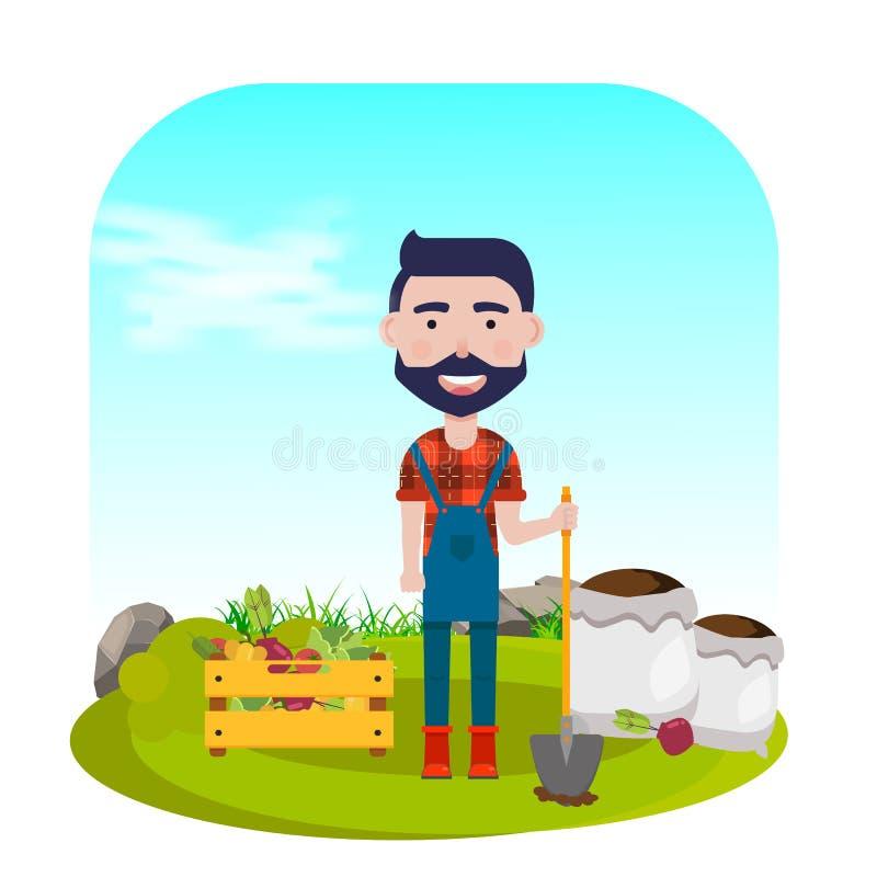 Fazendeiro com pá, vegetais e adubos Ilustração do vetor ilustração do vetor