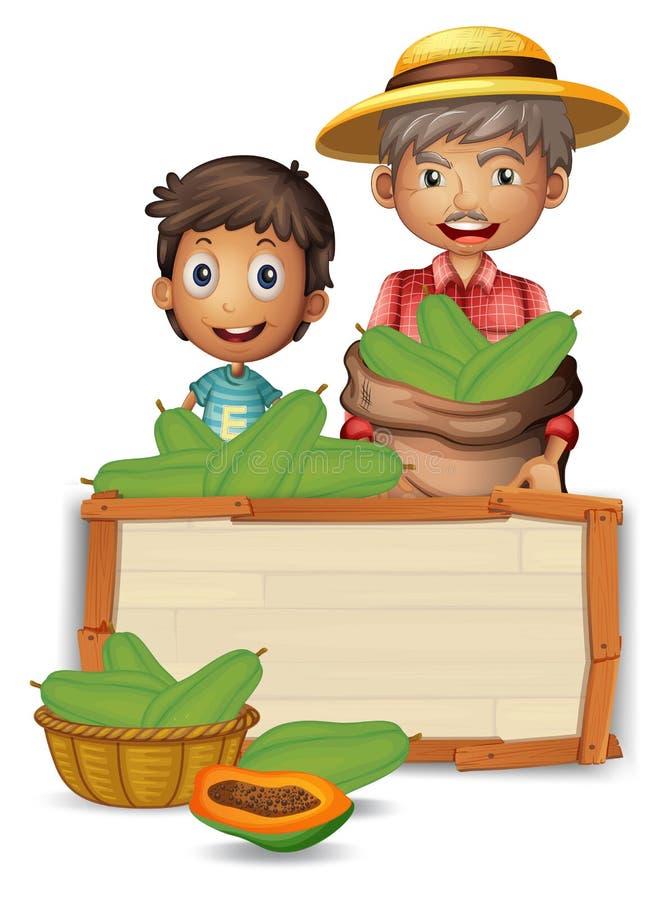 Fazendeiro com a papaia na placa de madeira ilustração stock