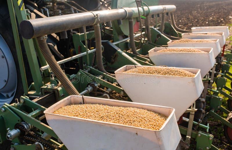 Fazendeiro com semeação do trator - a sementeira colhe no campo agrícola fotografia de stock