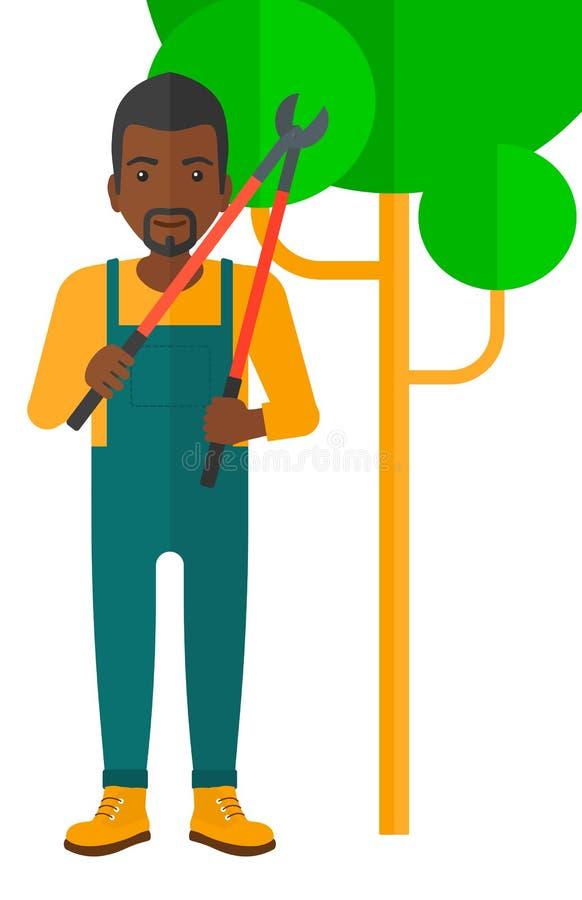 Fazendeiro com tesoura de podar manual ilustração do vetor