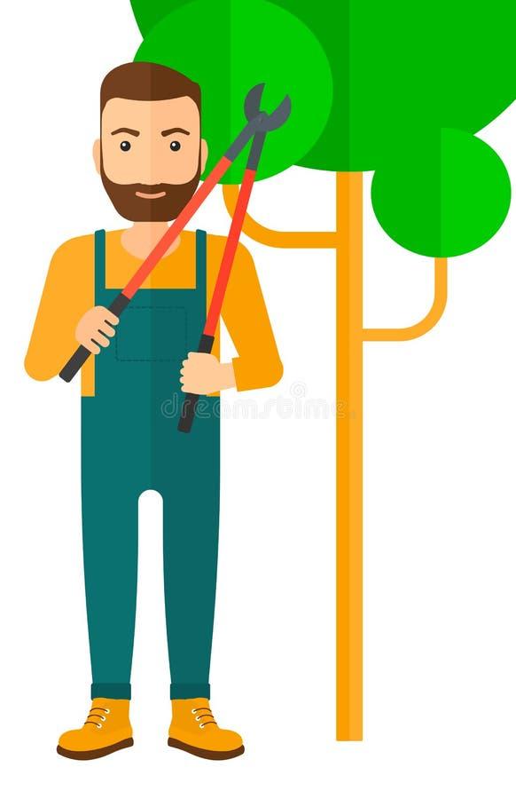 Fazendeiro com tesoura de podar manual ilustração royalty free