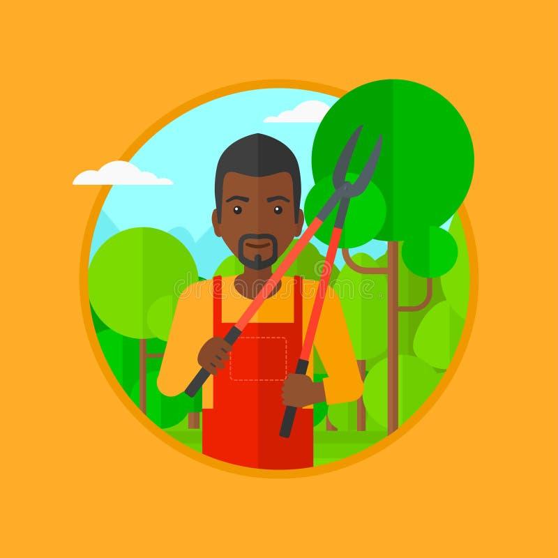 Fazendeiro com a tesoura de podar manual na ilustração do vetor do jardim ilustração do vetor