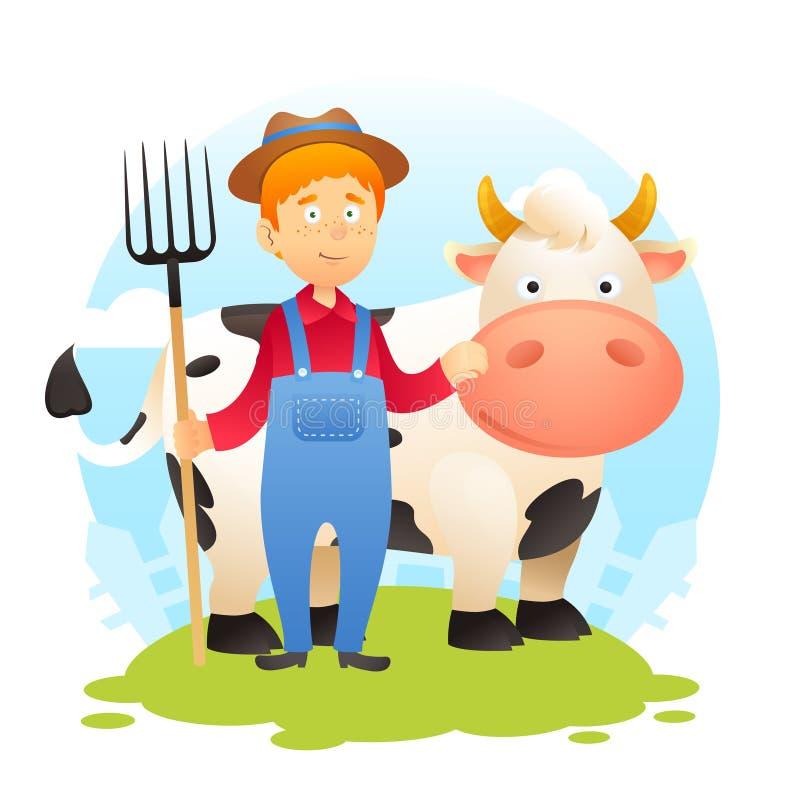 Fazendeiro With Cow ilustração do vetor