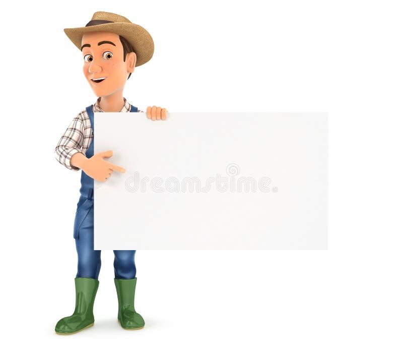 fazendeiro 3d que aponta a placa vazia ilustração royalty free